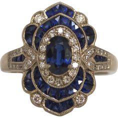 Art Deco 18KT White Gold French Cut Deep Blue Sapphire & Diamond Ring at RubyLane.com