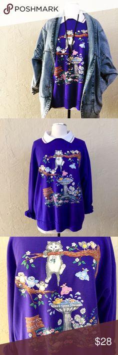 Vintage 1990s purple cat sweat shirt Vintage 1990s purple cat sweat shirt. Great condition. Fits a traditional women's size 2XL. Vintage Tops Sweatshirts & Hoodies