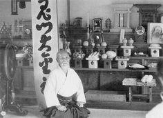 Morihei Ueshiba in Iwama, from the blog post: Drinking wine with O-Sensei - Translating Morihei Ueshiba