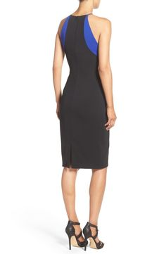 Free shipping and returns on Badgley Mischka 'Kate' Stretch Sheath Dress at Nordstrom.com. Electric blue banding frames the modified-halter bodice of this smooth, slimming sheath by Badgley Mischka.