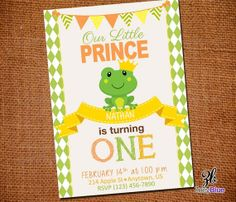 Little Frog Prince Birthday Invitation Green by ZoeyBlueDesigns