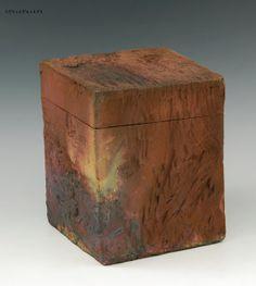 Raku fired hand built box M746 by RonMelloStudio on Etsy, $55.00