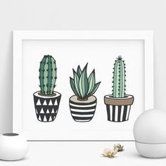 Cactus Print Illustrated Set