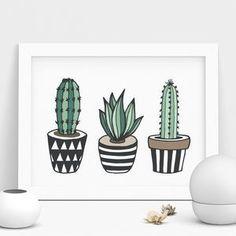 Cactus Print Illustrated Set