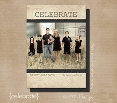 "Photo Christmas Card (Digital or Printed)- ""Celebrate"""