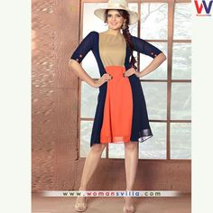 Dashing Blue And Orange Colour Designer Kurti#womansvilla