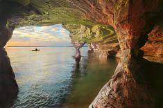 Sea caves on Madeline Island, WI