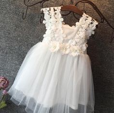 New Baby Girls Party Lace Tulle Flower Gown Fancy Dress Sundress Girls Dress