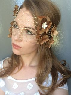 Items similar to Gold Brownish Russian Veil Lace Mask - Embellished See-Through Gold Mask - Masquerade Flower Gold Net Mask on Etsy Gold Masquerade Mask, Halloween Masquerade, Halloween Masks, Lace Mask, Modern Pin Up, Gold Lace, See Through, Veils, Trending Outfits