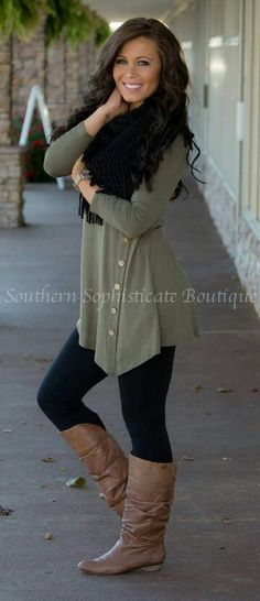 Looking for ways to style my olive green button down shirt. Black scarf, leggings and boots. Cute