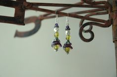Purple Tulips Bead Olive Green Czech Faceted Glass by MemesShoppe, $22.00