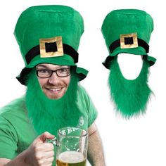 St. Patrick's Top Hat With Beard, Green