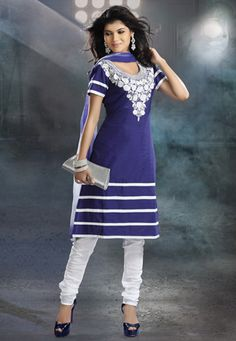 Violet cotton semi-stitch kameez is embroidered with resham and patch border. Contrasting White cotton churidar and contrasting double dye faux chiffon dupatta is available with this. (Slight variation in color and patch border is possible.) data-pin-do=