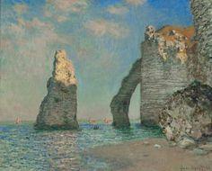 Claude Monet, 1885, Kliffen van Étretat doek 64,9 x 81,1 cm Blau en de zee. Impressionisme is een stroming waarbij licht, luchten, water, schepen, landschappen en vooral de zee zichtbaar is. Men ging reizen om de stad te ontvluchten en dor het impressionisme gaf de stadse kunstenaar het landschap weer. Zeegezichten zijn typisch Nederlandse schilderkunst. Jongkind was een voorbeeld voor Monet.