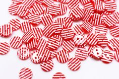 Red and White Striped Button Line Pattern by boysenberryaccessory