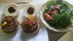 Double BBQ turkey burgers topped w/salsa and a garden salad w/olive oil and garlic pepper