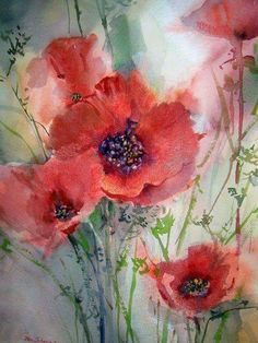 watercolor poppies painting with a touch of Pastels, by Jan Schafir - ArtistDaily Watercolor Poppies, Easy Watercolor, Poppies Painting, Flower Paintings, Poppies Art, Flower Artwork, Watercolour Paintings, Red Poppies, Red Flowers