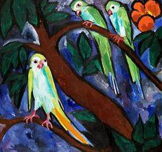 Natalia Goncharova,  Parrots on ArtStack #natalia-goncharova-natal-ia-sierghieievna-goncharova #art