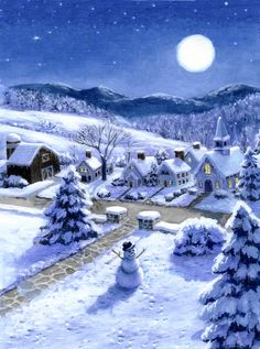 Peaceful Winter Villiage - RUTH SANDERSON