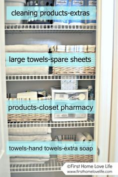 Towel closet organization I would put cleaning products on the bottom to avoid spilling.