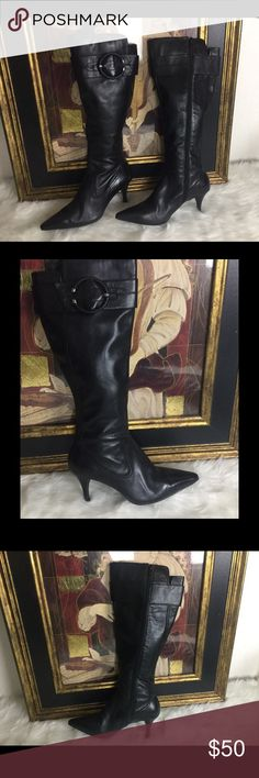 """LISTING. Joan & David Leather Boots. Sz 7 Check out these great Joan & David boots.  So cute.  Sz 7. Heel height 3"""".  Circumference is 6.5"""". In good condition.  Love these!! Joan & David Shoes Heeled Boots"""