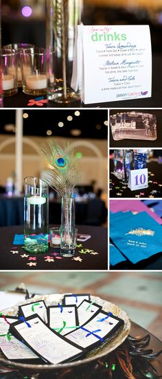 LOVE this single peacock feather centerpiece!