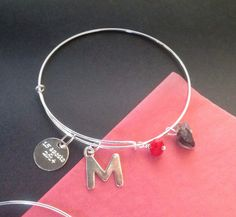 """BRACELET """" personalized"""" in sterling silver """"Letter"""" and """"message """" with red crystal and quartz bead de Crystallites en Etsy Quartz, Messages, Lettering, Etsy, Sterling Silver, Beads, Trending Outfits, Unique Jewelry, Bracelets"""