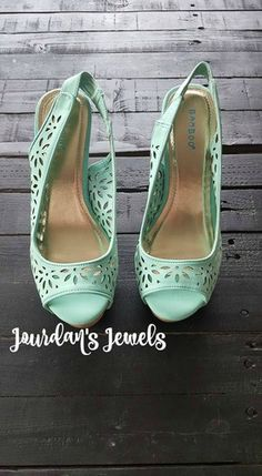 Mint Babydoll Flower Wedges. Spring Wedges. Summer Wedges. Wedding Wedges. Find these and more at Jourdan's Jewels!