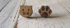 Cat & Paw earrings Laser Cut Jewelry, Cat Paws, Wooden Jewelry, Cufflinks, Stud Earrings, Jewels, Jewellery, Crafts, Inspiration