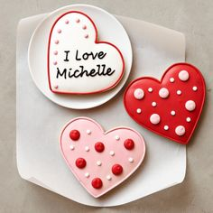 Personalized Valentine Heart Cookies, Set of 3