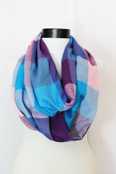 soft cotton blue plaid  infinity scarf by salihadilber on Etsy, $16.90