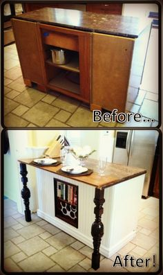 Idea to use dresser as kitchen island and add wood to the top to extend the size out and legs under for support.