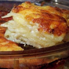 Scalloped Potatoes...you can add 1/2 cup grated cheddar cheese to the sauce & mix to melt. Sprinkle bread crumbs on the top of the potatoes before baking also.