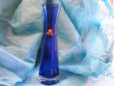 Blue Mid Century Vase – Ingrid Glas – Vintage 1950s 1960s German Cased Glass – with Label von everglaze auf Etsy