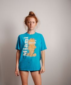 70s large Garfield Miami tourism t-shirt unisex adult shirt Jim Davis cartoon cat by furhatguild on Etsy