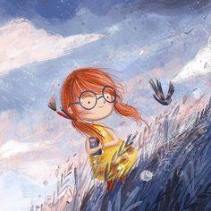 regram @childrenswritersguild #Repost @illustratelucy  Breathe the day fresh air  #illustration #sunset #nature #ginger #girl #bird #kidlit #cute #kidlitart #kidsbooks #books #sketch #doodle #digital #painting #sweety #childrensillustration