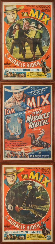 """Three Original Lithograph Tom Mix Movie Posters for """"The Miracle Rider"""" Lot of 3 original lithographs for Tom Mix's last major film role, """"The Miracle Rider,"""" a 15-part serial about Texas Rangers. a) """"Chapter 2: The Firebird Strikes"""" and b) """"Chapter 3: The Flying Knife,"""" are both 41"""" x 27"""", framed to 43"""" x 29 1⁄4"""". c) For the serial in general, 41"""" x 27, framed to 43 3⁄4"""" x 30"""". Provenance: From the Estate of Snuff Garrett. (Est. $1,000-1,500) Will be offered at auction in Fort Worth, TX on…"""