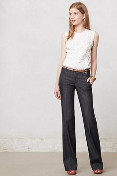 Anthro-inspired casual but classy wear. Dark high-waisted jeans + a chic white blouse never fail.