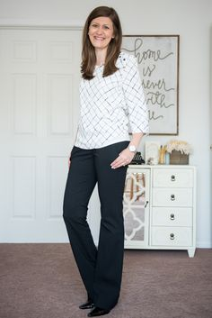 like the top from stitch fix with black slacks for work- what I like about it is the button detail on the shoulder.