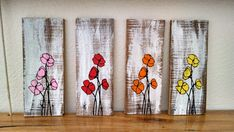 Hand painted poppy flower pallet board art Wall by EdisonAvenue