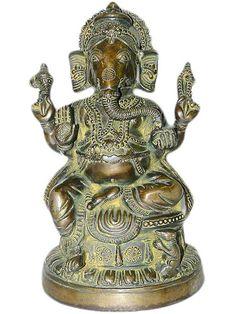 "Ganesha Brass Statue Hindu Deity Yoga Decor Ganesh Sculpture Vinayak 13"" | eBay"