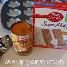 2-Ingredient Pumpkin Muffins with spice cake mix or yellow cake mix