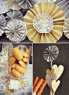 Yellow and gray theme sweet bar - love how they used doilies with the rosettes and the cutouts on dowel rods for the vase