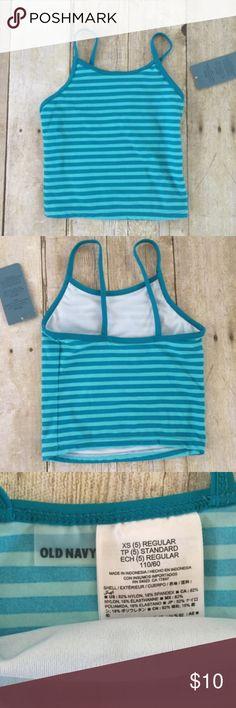 Blue Striped Swimwear Tankini Top Blue striped tankini swimwear top.  🔸Size 5 🔸No rips or stains 🔸Smoke Free Home Old Navy Swim