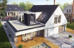 Haus moderne Häuser von Pracownia Projektowa ARCHIPELAG Your Style, Your Budget Tired of ogling the House Extension Design, Roof Extension, Extension Ideas, Bungalow Extensions, House Extensions, Roof Design, Exterior Design, House Roof, Prefab Homes