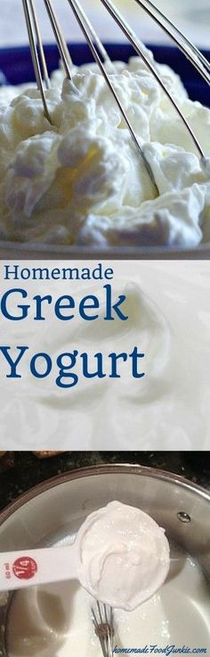Homemade Greek Yogurt.  Save half the money of store bought and use good quality organic milk for the very best Greek Yogurt you will ever have! Healthy and yummy!