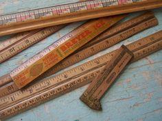 Vintage/Antique  Group of  Wooden Rulers  Breyers by ShaneLilyRain