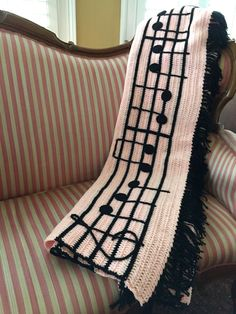 Vintage Blanket Pink Black Music Notes Crocheted by StylishPiggy