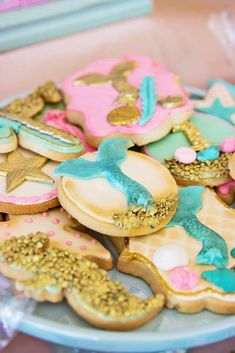 Incredible cookies at an under the sea mermaid birthday party! See more party ideas at CatchMyParty.com!