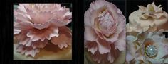 One of my favorite flowers to make. A sugar Peony. On the right we have a closed center peony, an open peony with a beautiful pearl and rhinestone center. Upper right corner are Southern Magnolias. Available at www.Etsy.com/Lynnes Sugar Creations